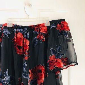Sheer Black Strapless Floral Dress